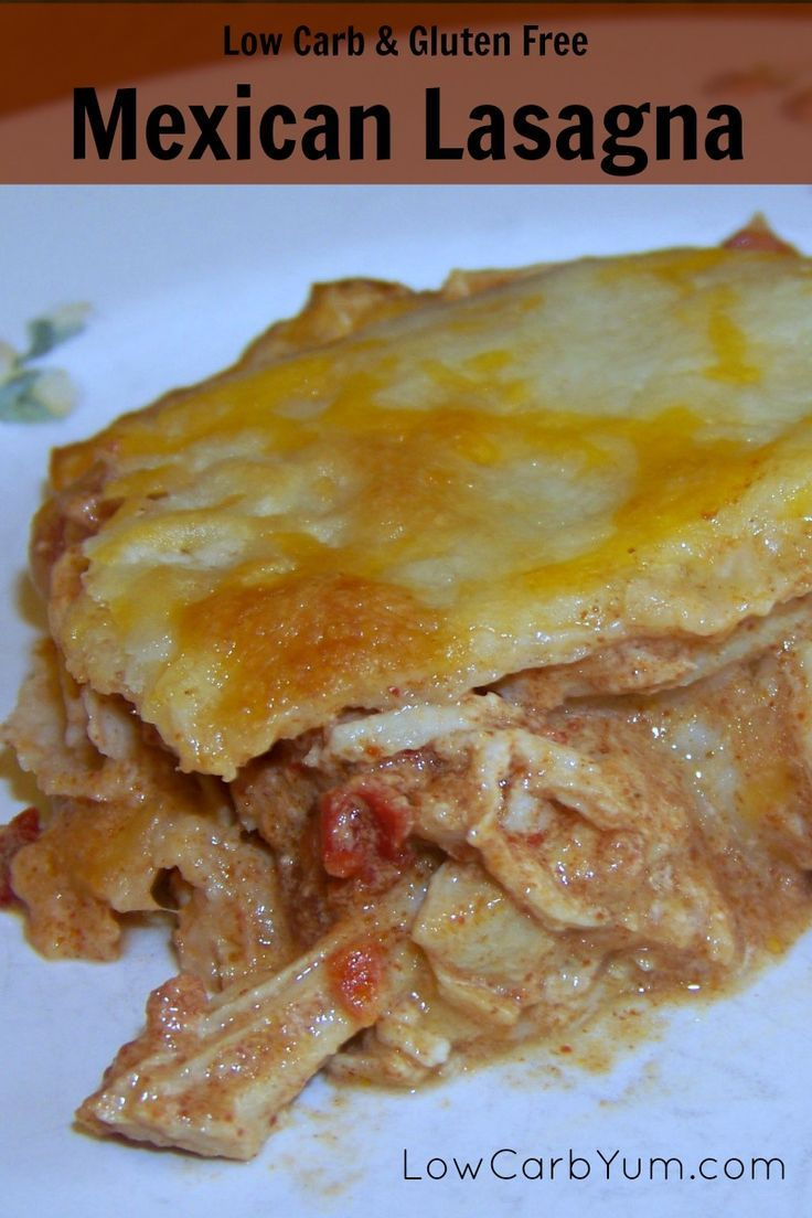 Using pre-made tortillas, this low carb gluten free Mexican chicken lasagna comes together quickly. It's flavored with Mexican spices and plenty of cheese. LCHF Keto Atkins