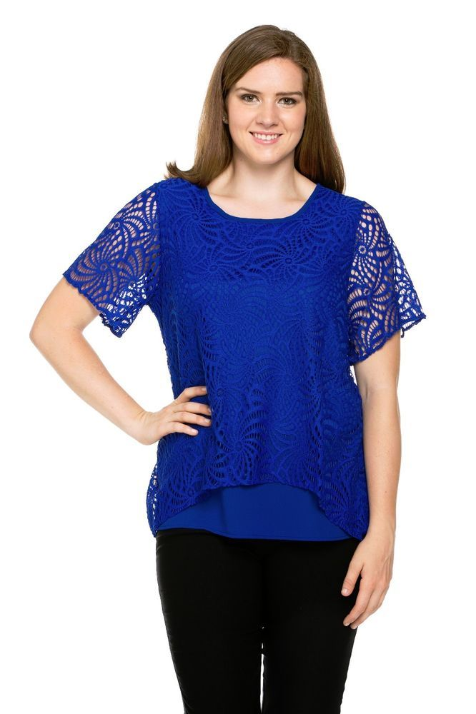 Chiffon Laced Women's Plus Size Top (in Royal Blue, Black, or Red, 1X-3X) #EssentialCollectionPlusSize #Blouse #Casual