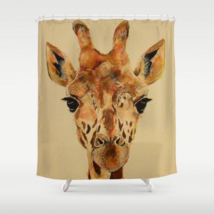 Giraffe Shower Curtain   Such Lovely Eyes. #giraffeshowercurtainglam