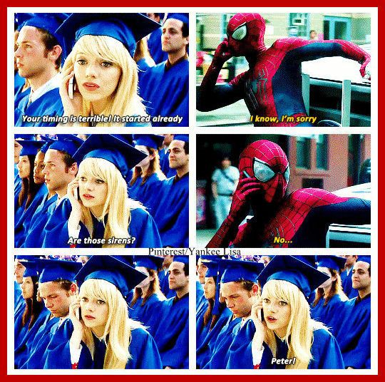 Andrew Garfield - Peter Parker and Emma Stone - Gwen Stacy - The Amazing Spider-Man 2.....perfect:)