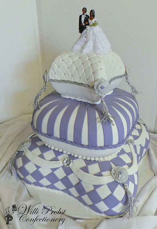 White & purple pillow themed wedding cake by Willi Probst Bakery - Africa