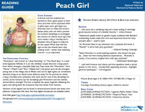 """Reading Guide for Peach Girl, a picture book inspired by Japan's """"Peach Boy"""" or """"Momotaro"""" folktale"""
