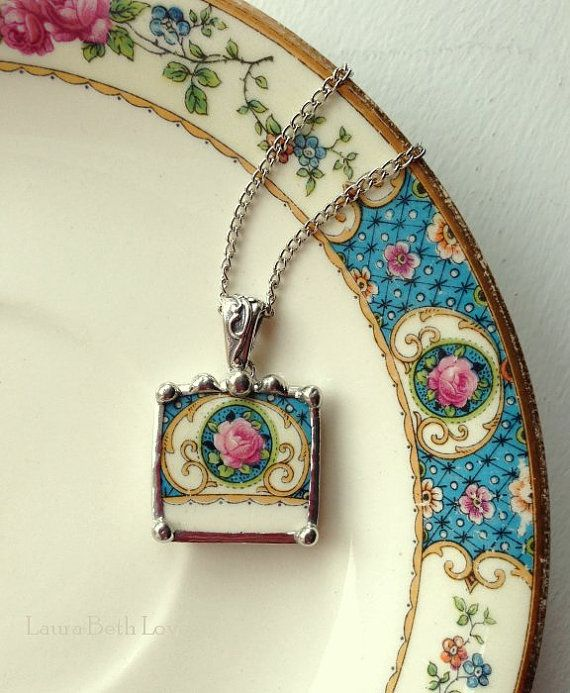 Broken china necklace pendant antique pink cabbage roses on blue broken china jewelry