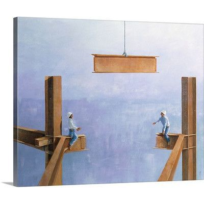 """Canvas On Demand Placing the Last Link by Lincoln Seligman Painting Print on Canvas Size: 16"""" H x 20"""" W x 1.25"""" D"""