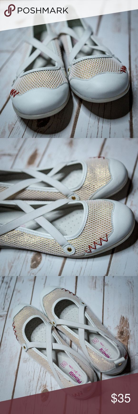 """Vera Pelle Primigi white leather Mary Janes - Sz 9 Vera Pelle Primigi white leather Mary Janes. White netting with gold underlay and red zigzag accent stitching. Gently used, but soles look brand new. Size 9.   Brand label on inside sole of right shoe is slightly rubbed off. Inside sole shows no signs of wear though.  Measurement from toe to heel (take on bottom of shoe) is 10.5."""" Widest part of shoe is 3.5""""  Feel free to ask questions or make an offer!! Vera Pelle Shoes Flats & Loafers"""