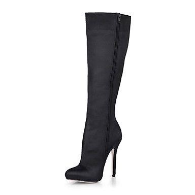 όμορφο μεταξωτό τακούνι στιλέτο μπότες μέχρι το γόνατο με φερμουάρ για παπούτσια κόμμα / βράδυ – EUR € 59.08