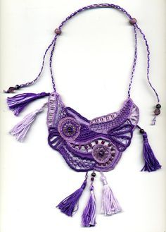 Purple Chickens needle lace necklace