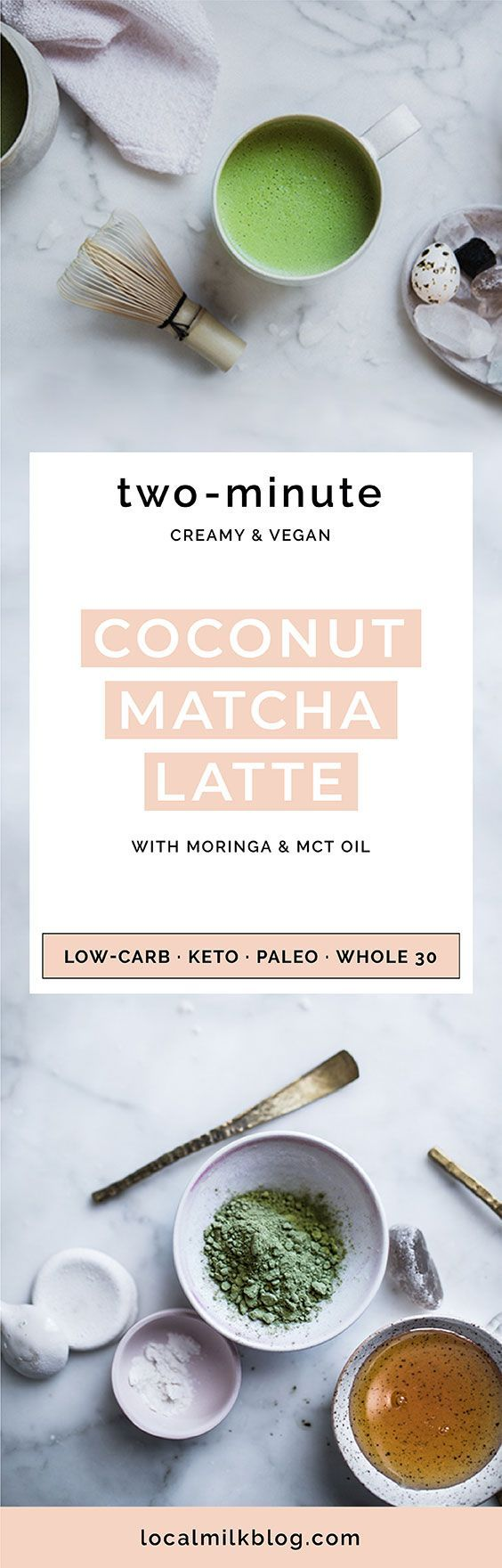 quick and easy vegan coconut matcha latte recipe made with coconut milk, the perfect, creamy herbal morning potion that's as great iced as it is hot!