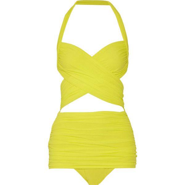 Norma Kamali XO Bill Mio halterneck swimsuit ($275) ❤ liked on Polyvore featuring swimwear, one-piece swimsuits, bright yellow, halter bikini top, bikini swimsuit, one piece bathing suits, cut out one piece bathing suits and yellow one piece swimsuit