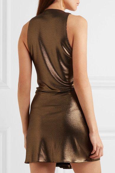 Saint Laurent - Draped Lamé Mini Dress - Gold - FR36