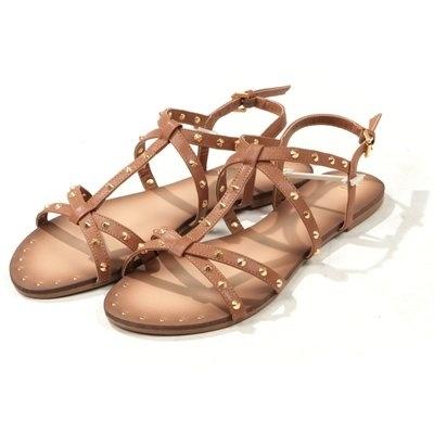 Sandali da gladiatore con borchie cammello