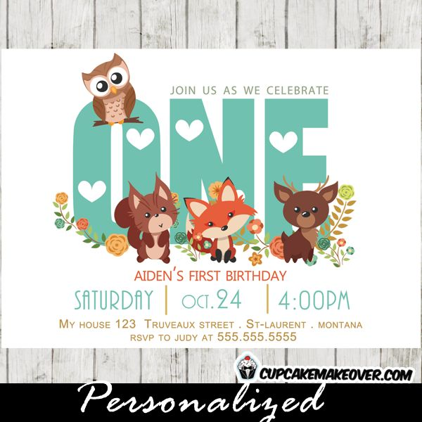 Adorable woodland themed birthday party invitation featuring ONE in teal blue with a beautiful floral arrangement and the cutest forest animals owl, fox, deer and squirrel. The perfect 1st birthday invitation. #cupcakemakeover
