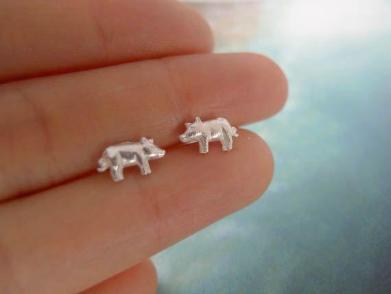 tiny pig earrings in sterling silver 925 by LemonTreeLand on Etsy, $25.00