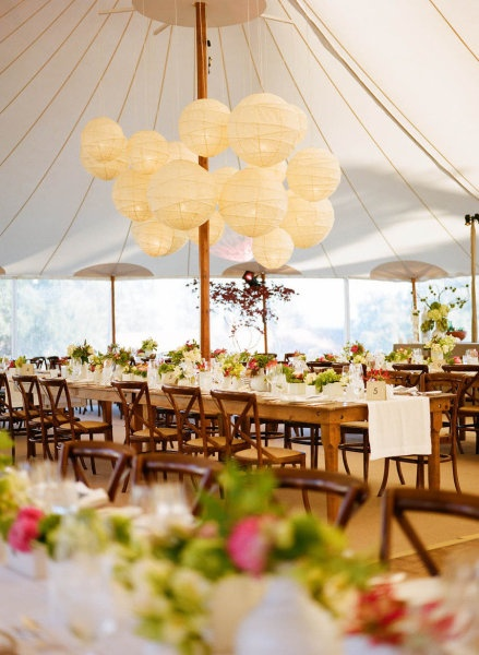 Paper lanterns are just as lovely for daytime receptions. Stylize a tent with paper lanterns of varying size and coordinate colors for your wedding. Shop 50+ colors and several sizes online at http://www.partylights.com/Lanterns/Lanterns-by-Color.