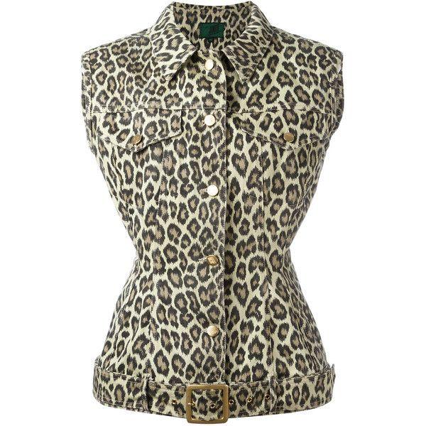 Jean Paul Gaultier Vintage leopard print sleeveless denim jacket ($464) ❤ liked on Polyvore featuring outerwear, jackets, brown, sleeveless denim jacket, sleeveless jacket, denim jacket, leopard jean jacket and vintage denim jacket