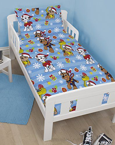 From 10.99 Paw Patrol Christmas Snowflake Junior / Toddler Duvet Cover Bed Set - 120cm X 150cm