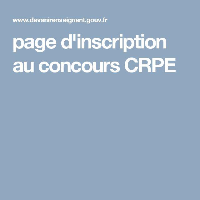 page d'inscription au concours CRPE
