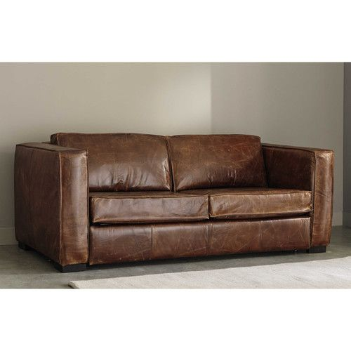 Canapé convertible 3 places en cuir marron vieilli