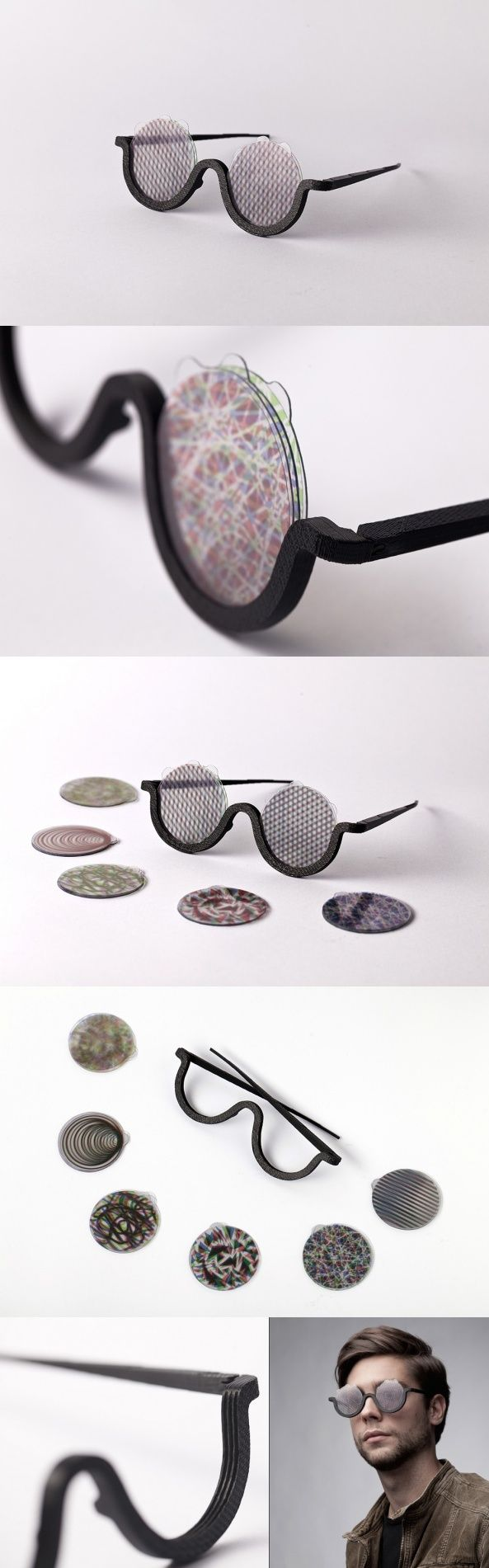 Designed with music in mind, MOOD is a wearable accessory that merges the visible with the audible to enhance the listening experience. 6 different lenses create optical effects in almost endless variation. One, the Moiré-effect, is a visual perception that occurs when viewing a set of lines or dots that is superimposed on another set of lines or dots, where the sets differ in relative size, angle, or spacing. Others can be created by adding, removing or recombining the lenses to create ...