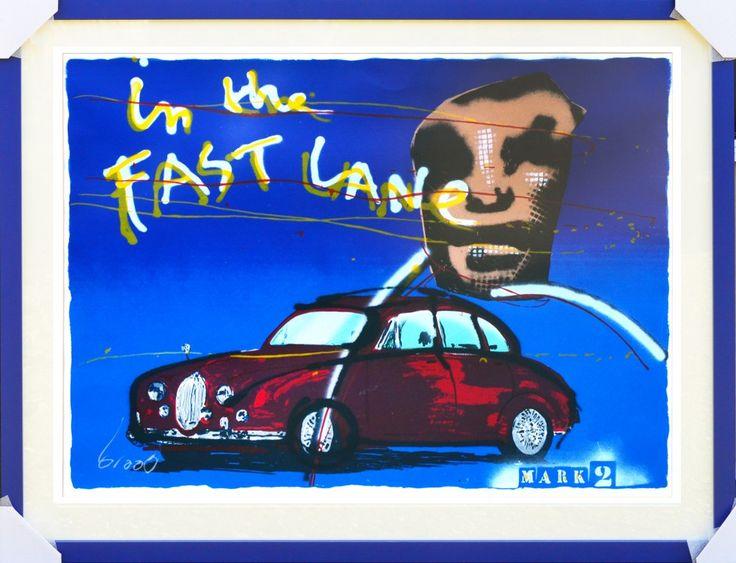 Dit is een: Zeefdruk hand gesigneerd, titel: 'In the fast lane mark 2' kunstwerk vervaardigd door: Herman Brood