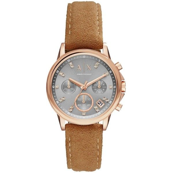 Armani Exchange Grey Tone Dial Rose Tone Case Brown Strap Ladies Watch ($155) ❤ liked on Polyvore featuring jewelry, watches, rose jewellery, pink-face watches, chronograph watches, chronograph watch and armani exchange