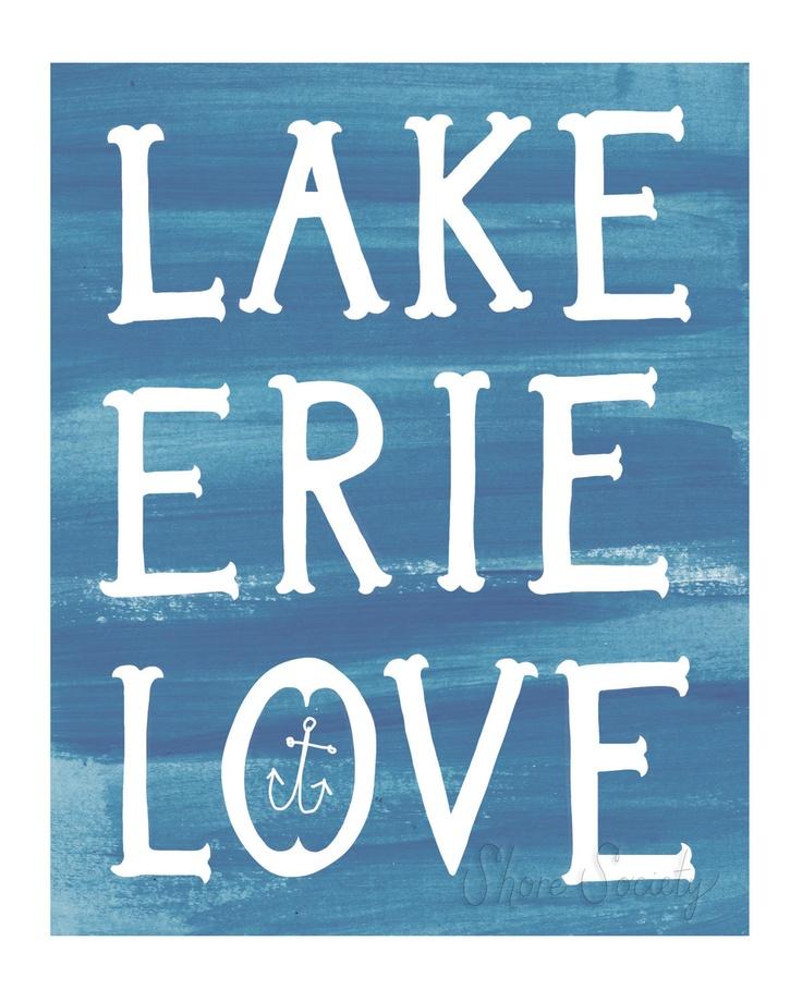 Lake Erie Love Print - Bottle Blue. $15.00, via Etsy.