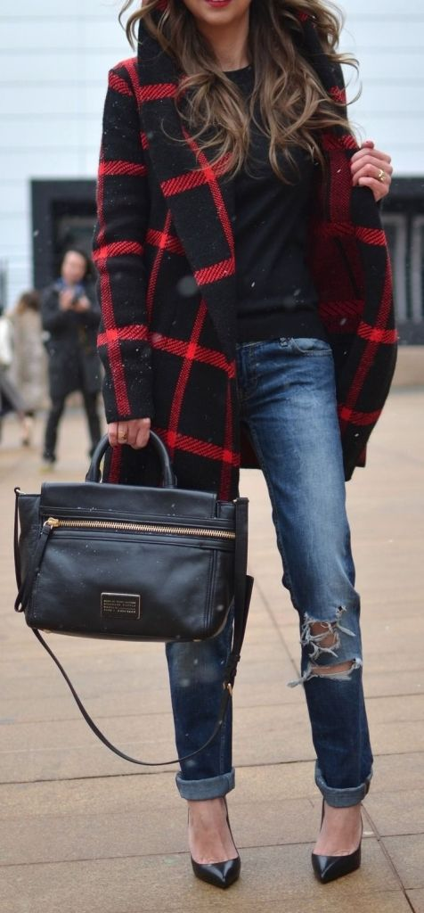 #winter #fashion / plaid + denim