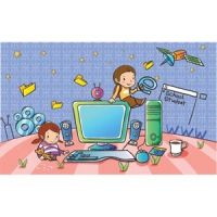 cute children playing with computer accessories beautiful wallpaper vector kids illustration