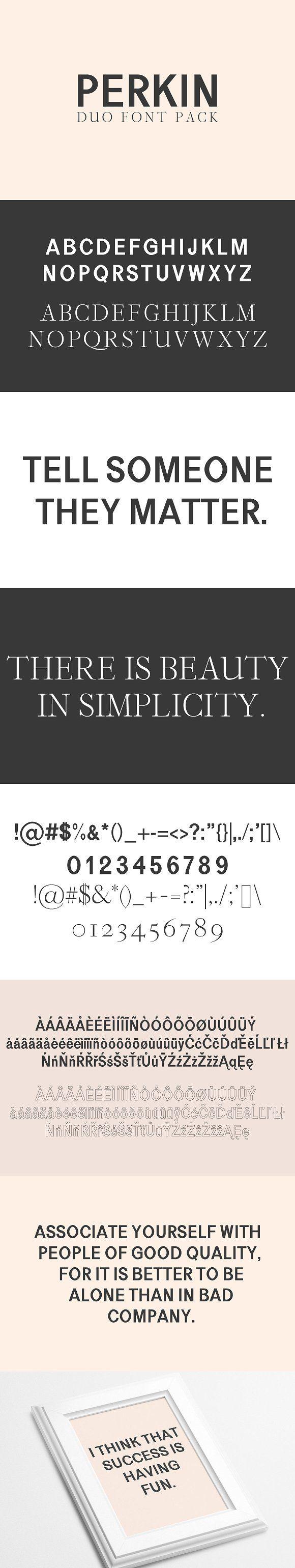 Perkin | Duo Font + Bonus Logo by CreativeWhoa on @creativemarket #creative #fonts