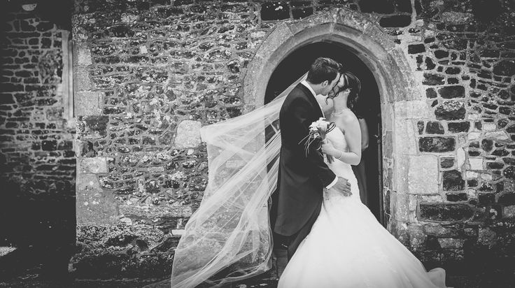 Bride and groom kiss shot - Black and White wedding photography