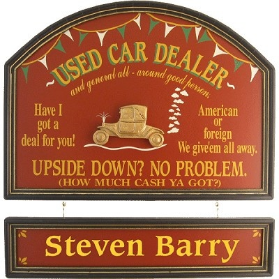 Personalized Used Car Dealer Custom Wood Sign