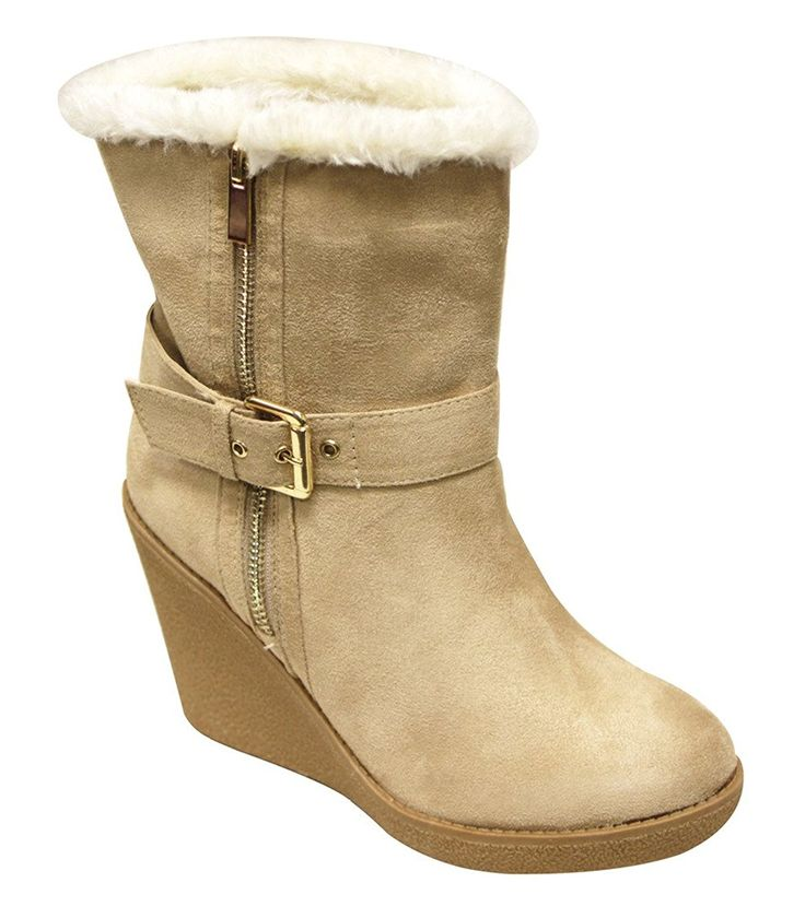 Legand Womens round toe rubber wedge ankle buckle strap side zipper faux fur lining wedge heels suede ankle boots Natural 10 See this great product