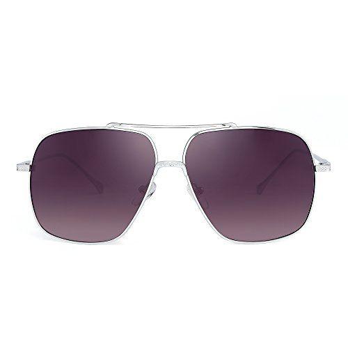 HONEY Lunettes de soleil pour hommes et femmes Cadres carrés clairs Lentilles réfléchissantes ( Couleur : Grey lenses ) abr3uaQ