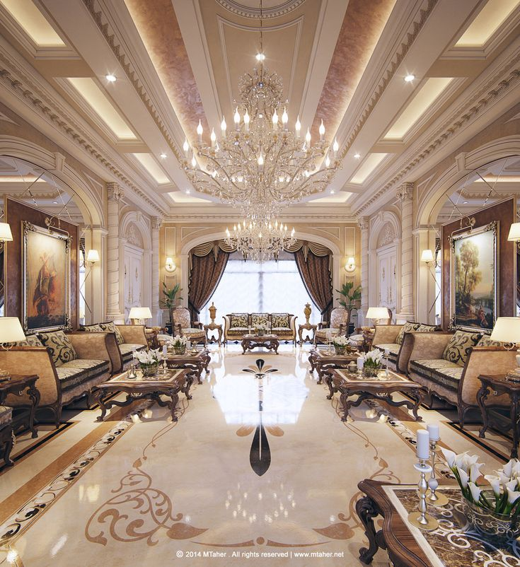 Dreamy Spaces Rendered By Muhammad Taher: Luxury Arabic Majlis With Classical Elements. Interior