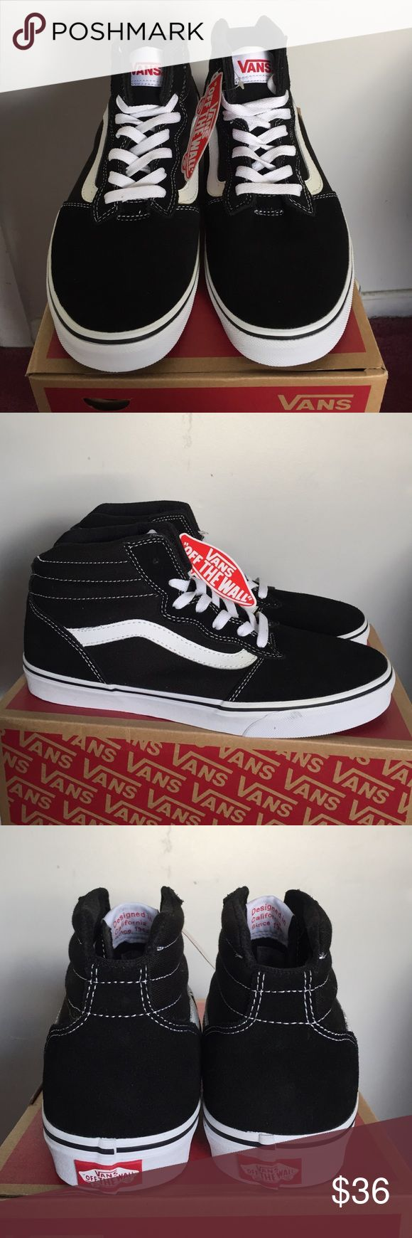 Brand New Authentic Vans men's shoes High top. Black suede front and back with logo design on the side Vans Shoes Athletic Shoes