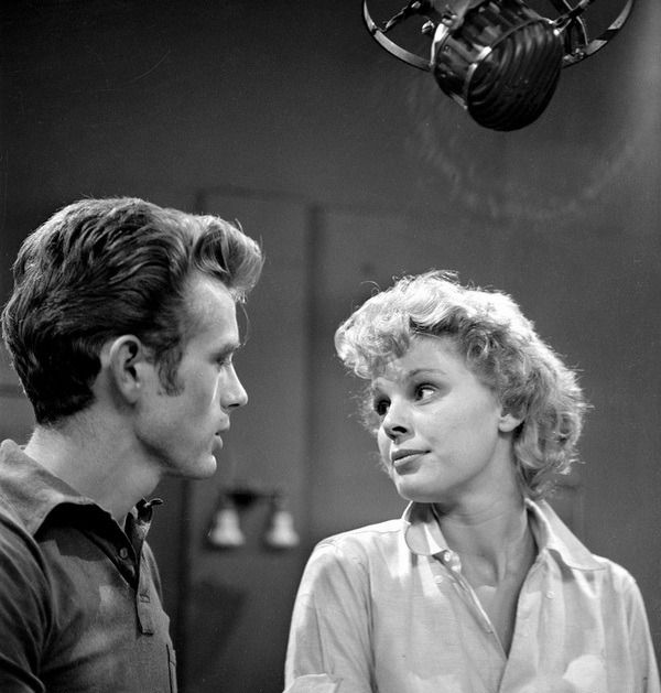 James Dean and Betsy Palmer on the set of Death Is My Neighbor, 1953.