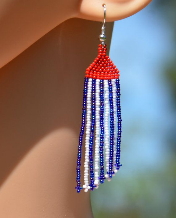 Americana red, white and blue. Beautiful long dangling size 13 seed bead earrings handmade by VickiDesignsCA