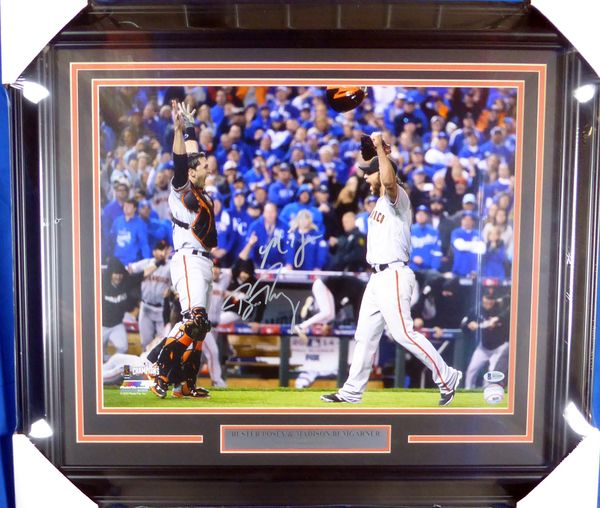 Buster Posey & Madison Bumgarner Autographed Framed 16x20 Photo San Francisco Giants 2014 World Series Beckett BAS