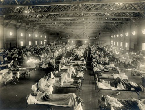 """Emergency hospital during influenza epidemic, Camp Funston, Kansas, 1918 [[MORE]] From the Wikipedia link: """" The 1918 flu pandemic (January 1918 – December 1920) was an unusually deadly influenza pandemic, the first of the two pandemics involving..."""