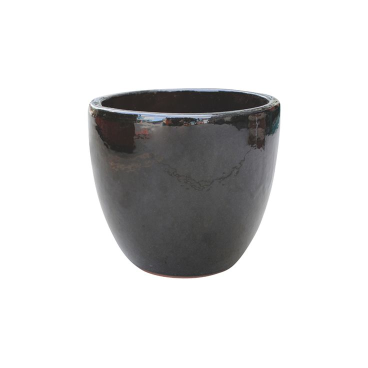 Northcote Pottery 35cm Primo Black Mod Egg Glazed Teracotta Pot
