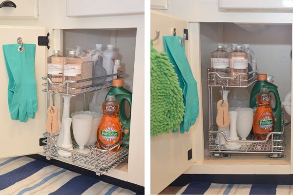 You've lost countless bottles, gloves, and cleaners to that jumbled space under your kitchen sink. Organize your kitchen's cave the right way with these 8 clever storage solutions.