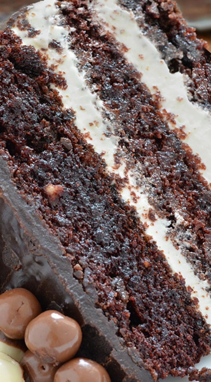 Chocolate Layer Cake with Cream Cheese Filling ~ Most amazing cake ever... Incredible chocolate dessert and real hit for chocolate lovers!