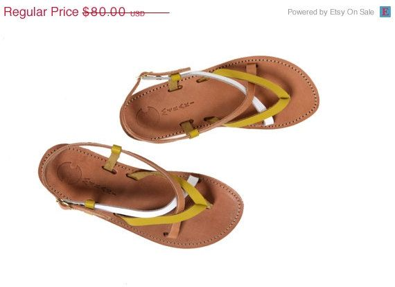 40% Off Strappy Sandals, Women's Leather Sandals, Yellow and Tan Women's Flats, Classic Strappy Sandals, Greek Leather Sandals by TheMerakiCompany on Etsy https://www.etsy.com/listing/192414904/40-off-strappy-sandals-womens-leather