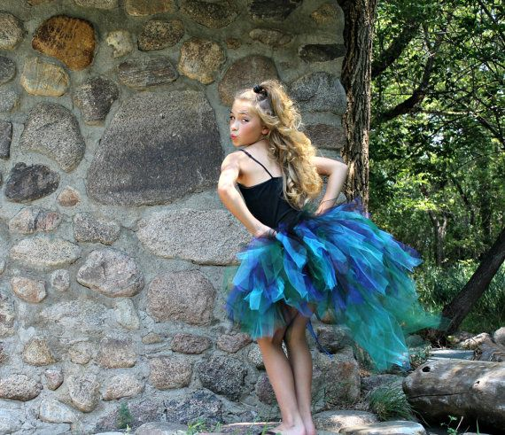 """Peacock Bustle Style Tulle Tutu with """"Tail"""" for Girls, Teens, Adults for Halloween Costume, Pageants, Parties"""