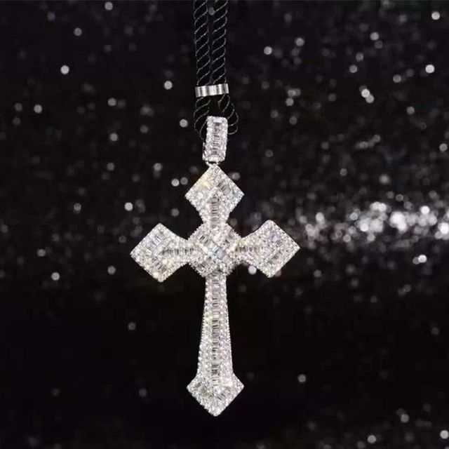 Best Price $40.46, Buy 100% Sterling Silver Cubic Zirconia Cross Big Pendant Necklace Chian Sparkling Jewelry Brand Necklace Men Women Top Quality