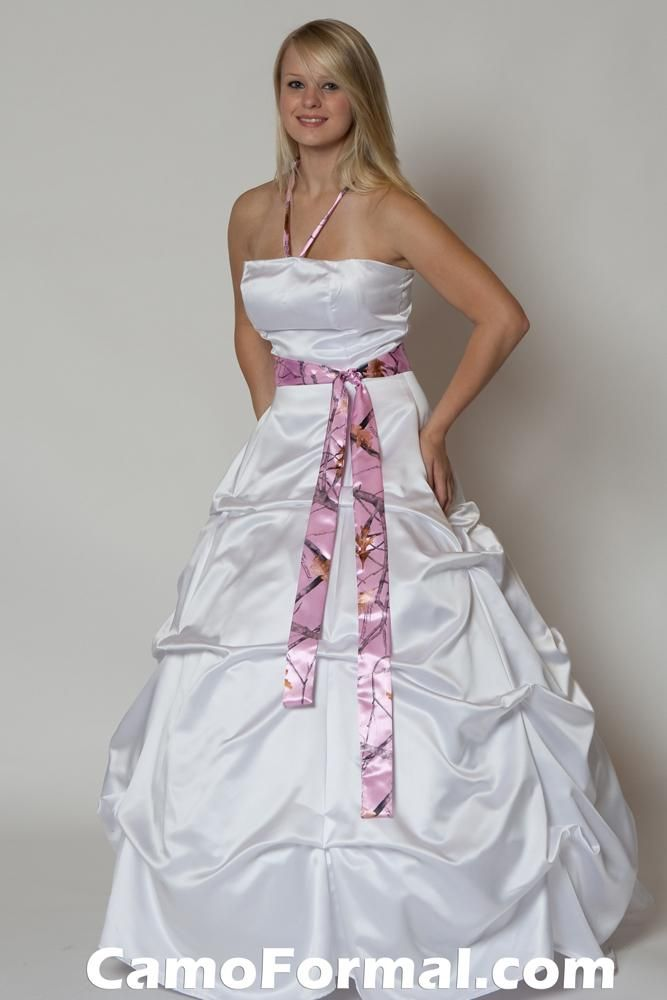 with pink camo..pretty my wedding dress right theree