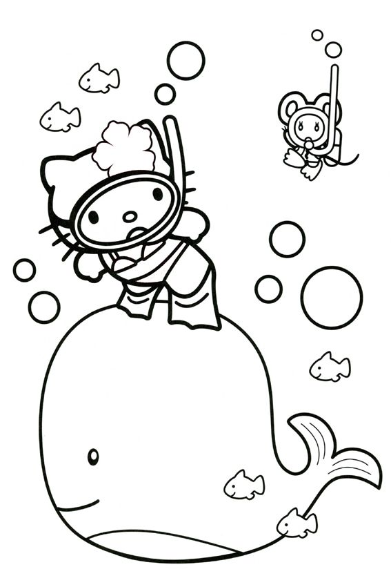 Hello Kitty Coloring Pages With A Whale
