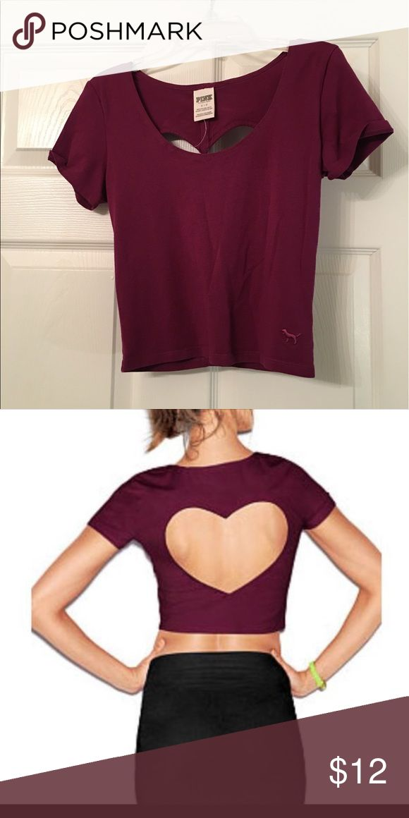 Crop top Long crop top, tight fit, magenta. From Pink. Great for summer!! Heart shaped cut out in the back, and a deep neck line. NEVER WORN! PINK Victoria's Secret Tops Crop Tops