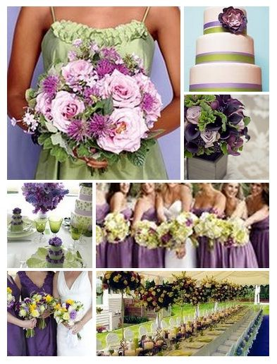 wedding color palette idea green and purple wedding
