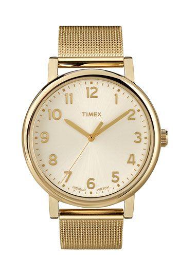 C L A S S I C !!  Gold, without the price tag. Timex Mesh Bracelet Watch